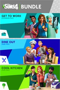 Carátula para el juego The Sims 4 Bundle - Get to Work, Dine Out, Cool Kitchen Stuff de Xbox 360