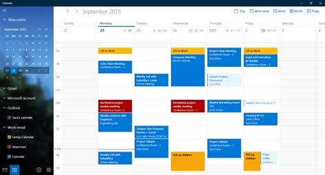 Mail and Calendar Screenshot