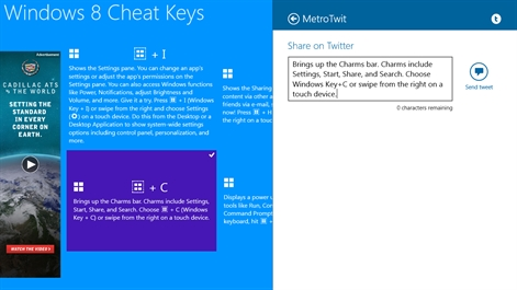 Windows 8 Cheat Keys Screenshot