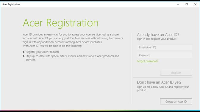 Hent Acer Product Registration Microsoft Store da DK