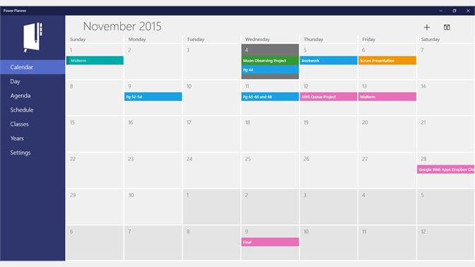 Get power planner microsoft store screenshot calendar view displaying homework and exams fandeluxe Image collections