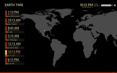 Get earth time microsoft store screenshot earth time displays times for cities all over the world gumiabroncs Choice Image