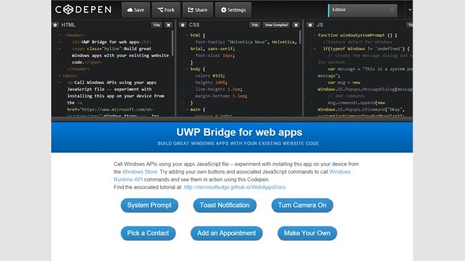 Get Win10 features with CodePen - Microsoft Store en-AE
