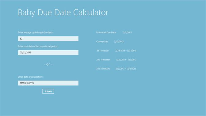 Get Baby Due Date Calculator - Microsoft Store
