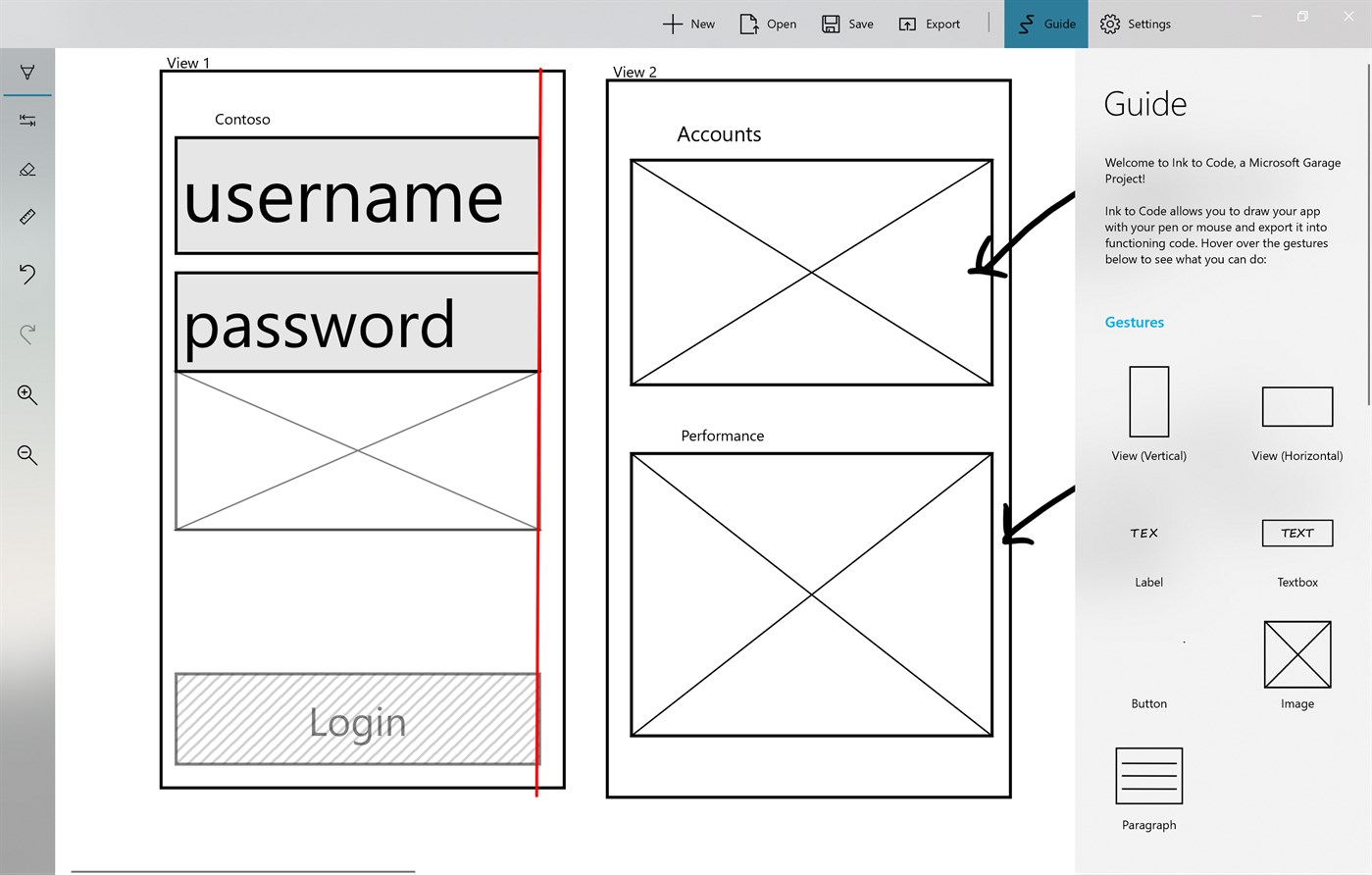 Ink To Code Wireframe Touchscreen App
