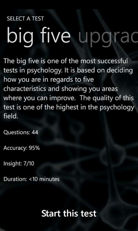 Personality Test Screenshots 2