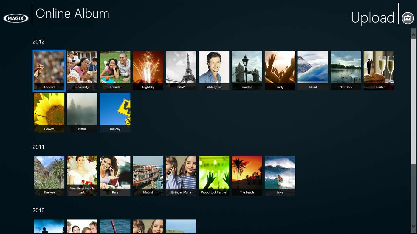 MAGIX Online Album for Win8 UI full screenshot