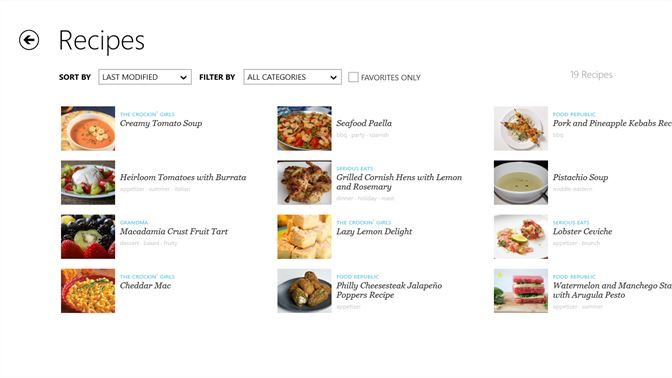 screenshot create and edit recipes on your windows 8 device share your favorite recipes