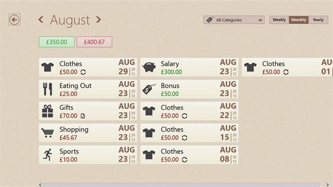 spending progress screenshot view and organise all your transactions in one place