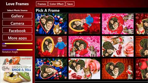 screenshot select a love frame that you want to use