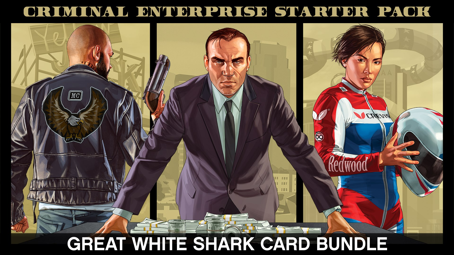 Pakke med Criminal Enterprise Starter Pack og Great White Shark Card