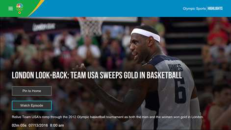 Screenshot: Olympics Detail Page for a Highlight 3