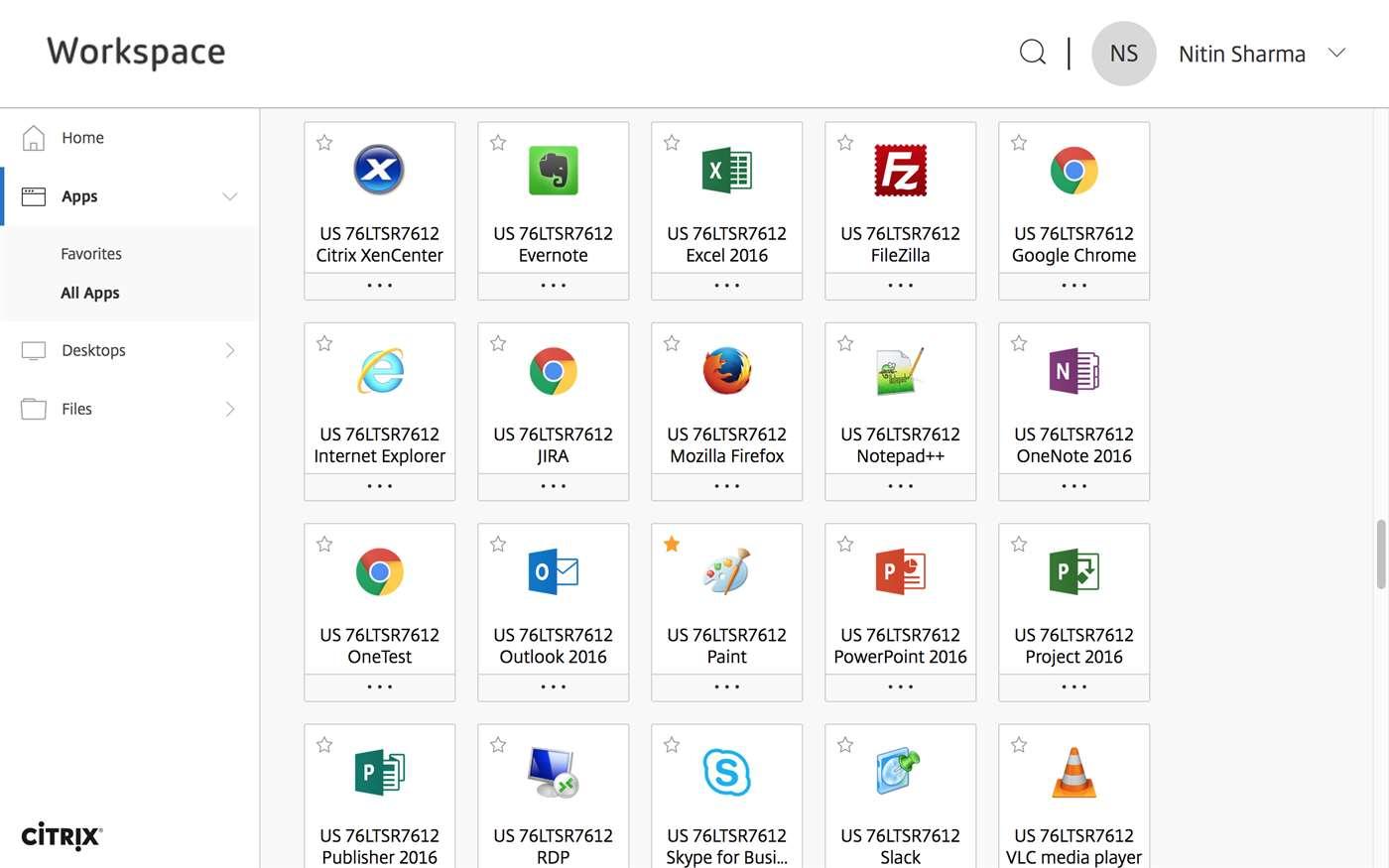 Full Citrix Receiver screenshot