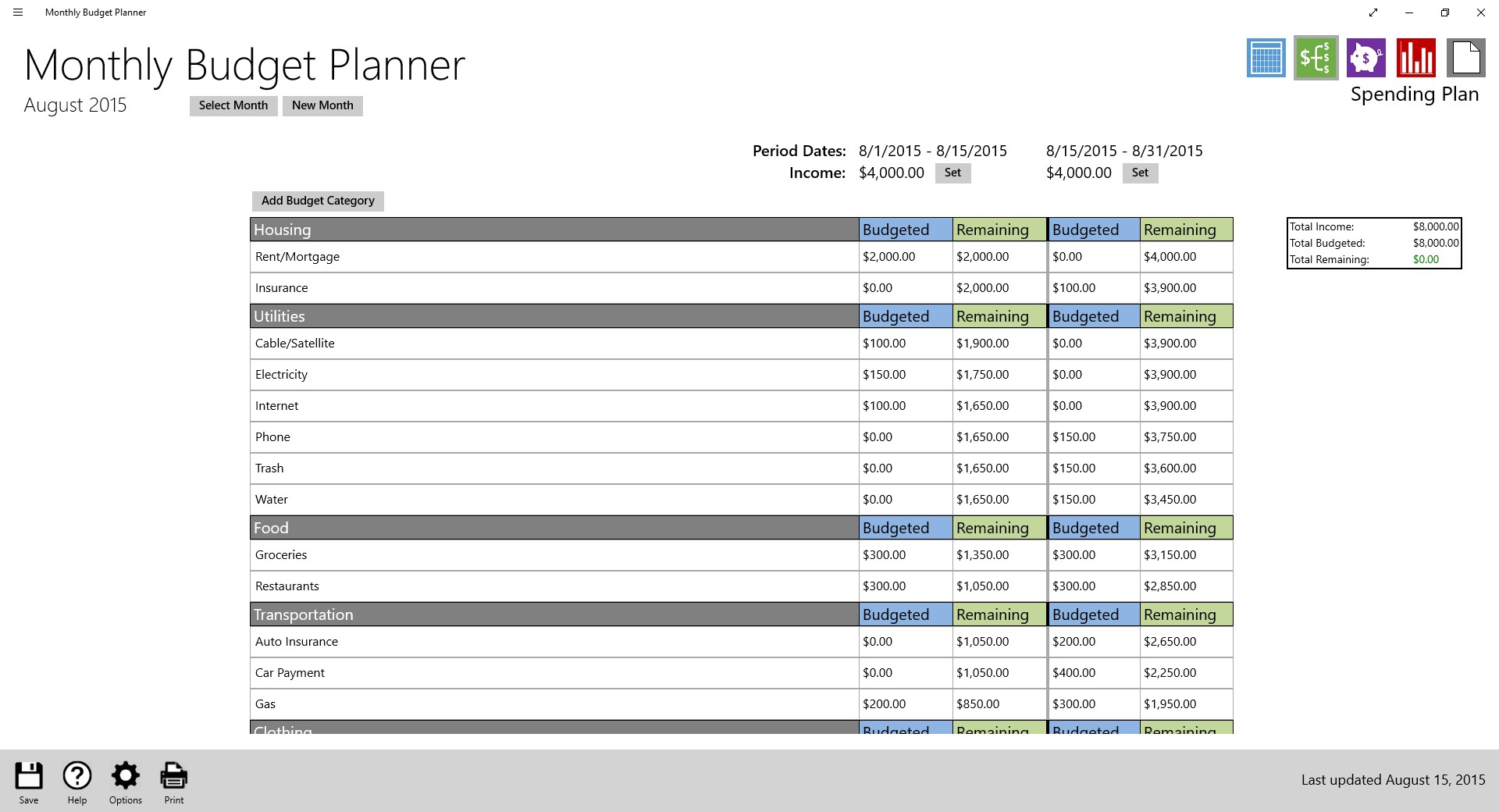 simple planning budget planner