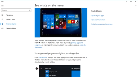 Microsoft Tips Screenshot