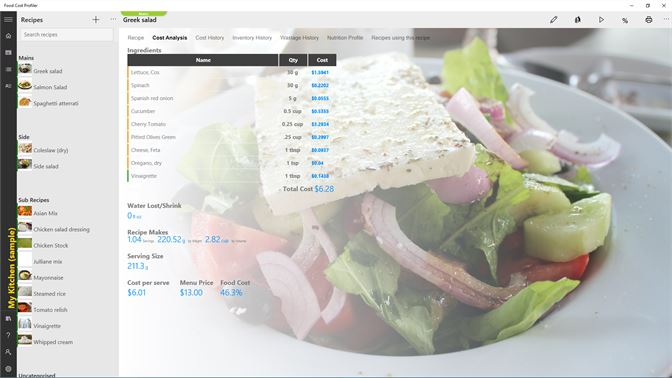 Get food cost profiler microsoft store screenshot recipe cost analysis forumfinder Image collections