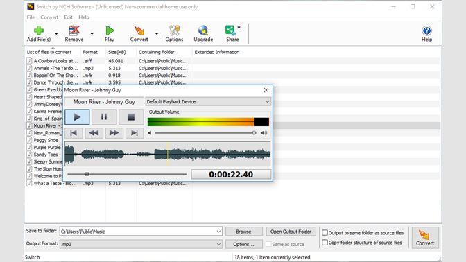 nch software switch sound converter