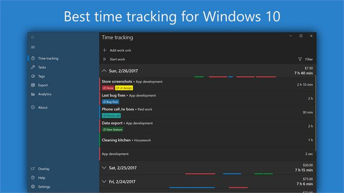 Get WorkingHours — Time Tracking / Timesheet - Microsoft Store