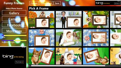 screenshot pick a frame screen listing all available funny frames