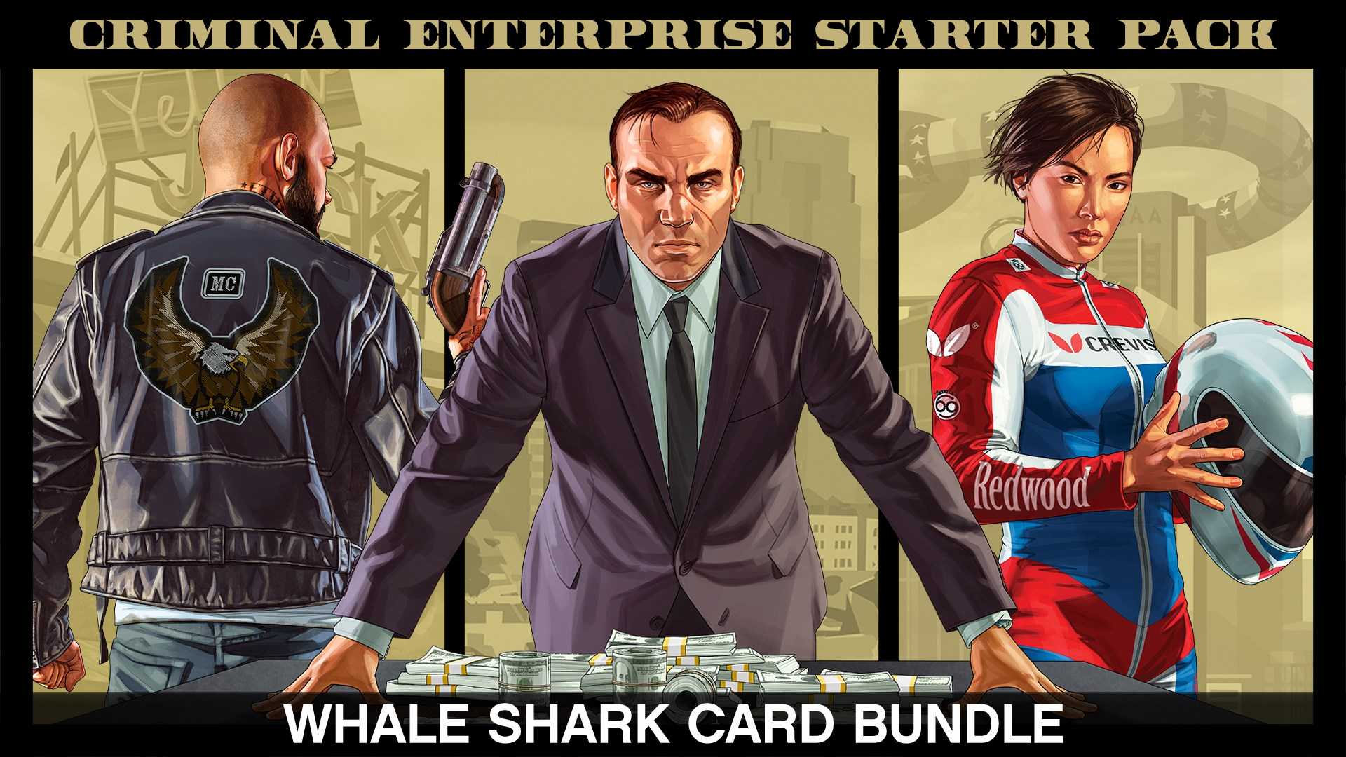 Bundle Pack d'entrée dans le monde criminel & paquet de dollars Whale Shark