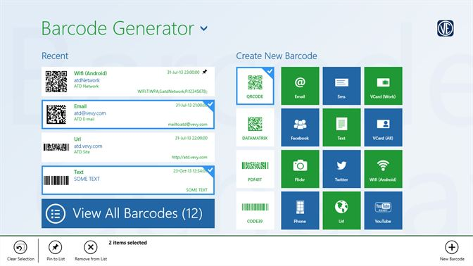 Get barcode generator microsoft store screenshot in the welcome page you can select recently saved barcodes generate a new colourmoves
