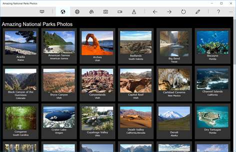 Screenshot: First screen: tile photos of all USA National Parks to select from