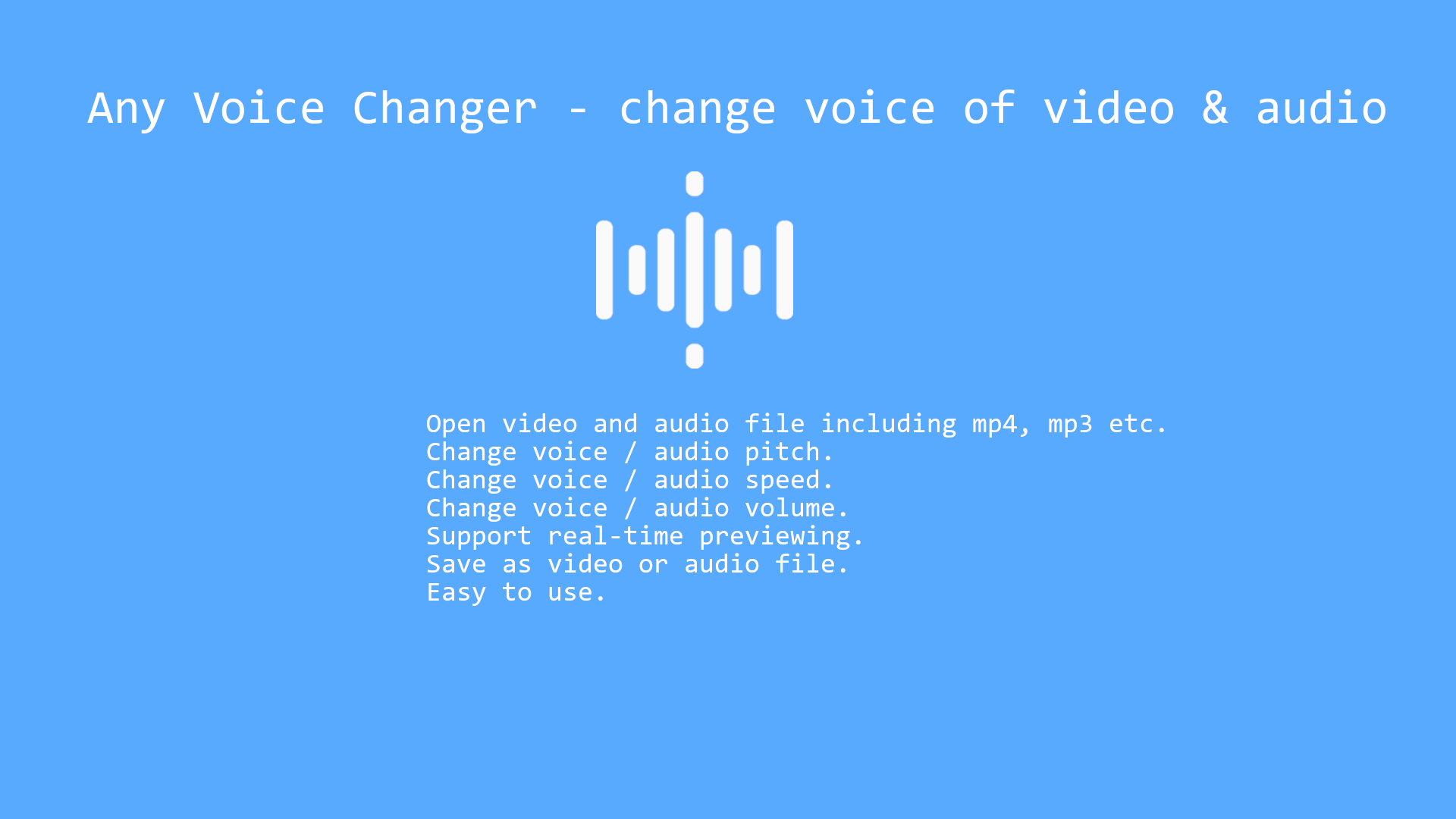 Get Any Voice Changer: change voice, change volume, speed of video and  audio file - Microsoft Store en-GB