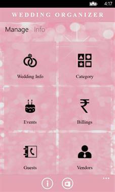 Volcor Software Wedding Organizer | Windows Phone