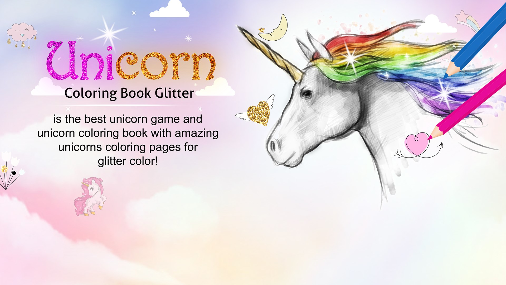 Get Unicorn Coloring Book Glitter - Microsoft Store en-TK
