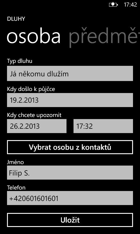 Datování aplikace pro Windows telefon