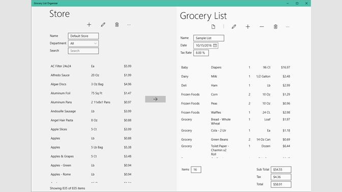 create your grocery list