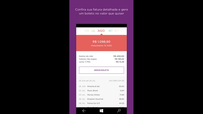 Nubank Windows Phone app updated with Card Tracking 3